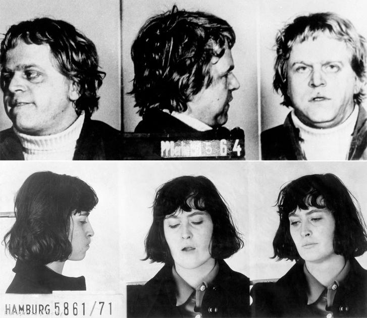 Hans-Jürgen Baecker német lakatos és villanyszerelő, a RAF terrorcsoprt tagja egy 1964-es rendőrségi felvételen és Margit Schiller 1971-es letartóztatása után.