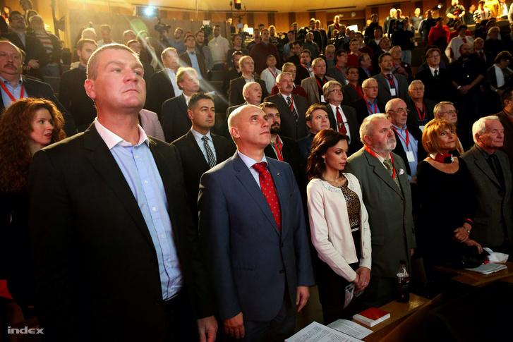 Botka László, Tóbiás József, Gőgös Zoltán és Lendvai Ildikó az MSZP Kongresszusán 2015. november 28-án.