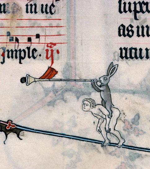 Harci nyúl emberegel és trombitál