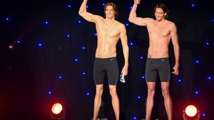 Kicsit X-lábú lett a francia úszóbajnok viaszszobra