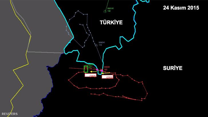 A török belügyminisztérium által kiadott radarképen az orosz repülőgép útvonala