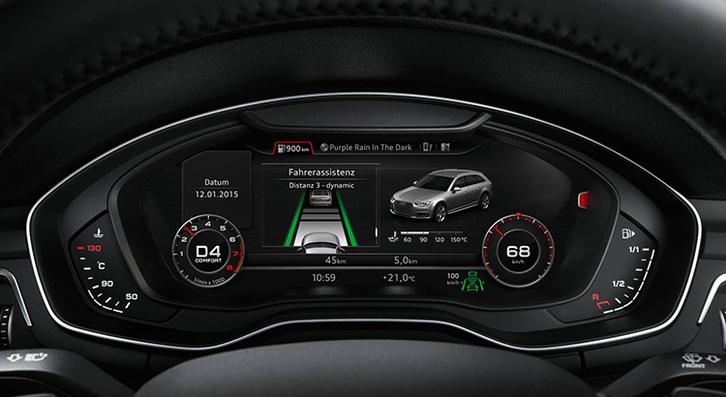Az Audi távolságtartó tempomatjának grafikája (rendes nevén: Adaptív sebességszabályozás közlekedési torlódás asszisztenssel)