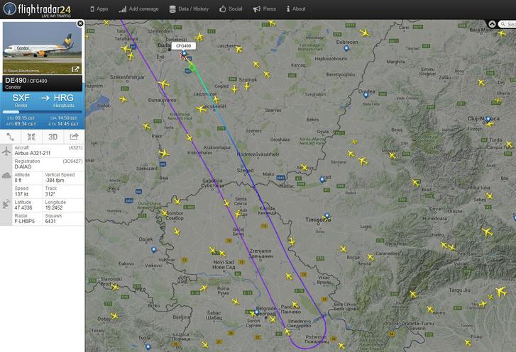 A Condor járatának útja a belgrádi visszafordulással Budapest felé.