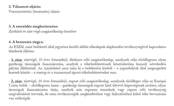 Részlet az Eximbank pályázati kiírásából.