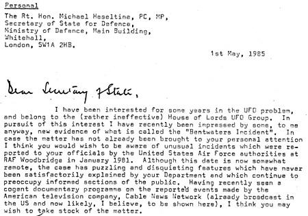 Lord Hill-Norton levele a hadügyminiszternek