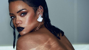Rihanna arcát takarva félmeztelenkedik az új borítóján