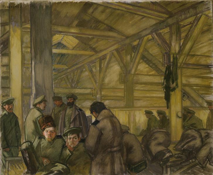 Vaszary János: Orosz foglyok barakkban, 1915