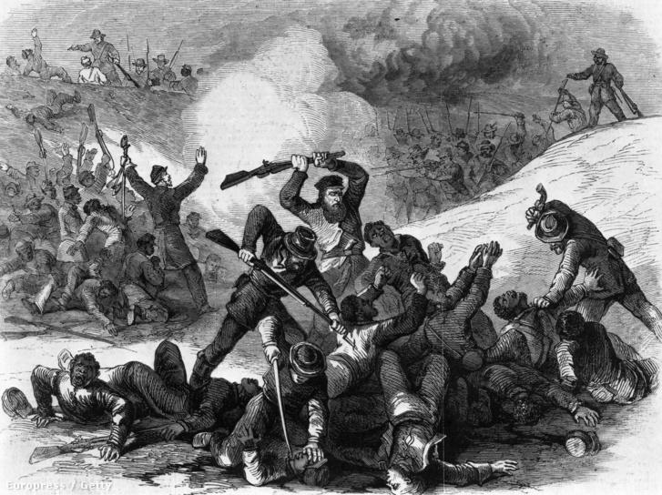 Nathan Bedford Forrest tábornok, a Ku Klux Klán későbbi alapítója a Fort Pillow-i mészárláson, ahol több, mint 300 afroamerikai katona vesztette életét 1864. augusztus 12-én.