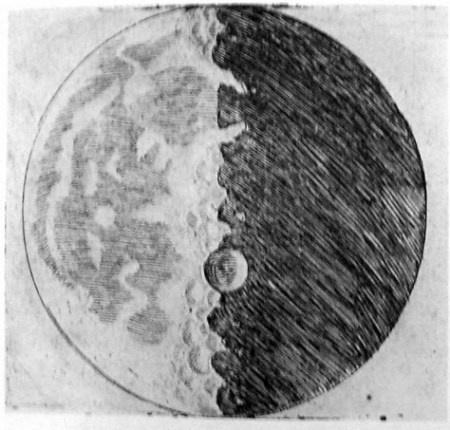 A tudós egyik első rajza a Holdról