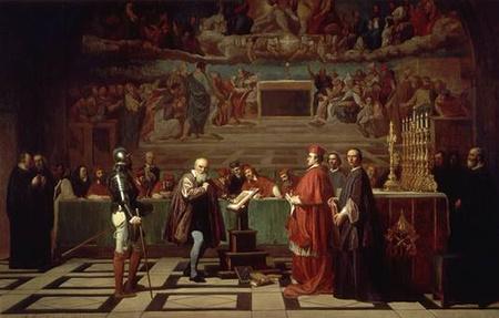 Galilei az inkvizíció előtt (Joseph-Nicolas Robert-Fleury 19. századi festménye)