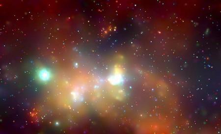 """A Tejútrendszer központi tartománya a Chandra """"szemével"""" - a középen lévő, fényes fehér folt helyén található Galaxisunk szupernehéz központi fekete lyuka (NASA & Chandra Science Center)"""