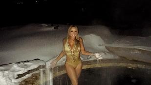Mariah Carey a hóban is fürdőruhára vetkőzik