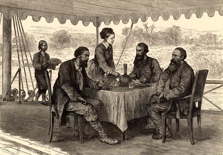 John Hanning Speke, James Augustus Grant egy dél-szudáni expedíció során találkoztak Samuel és Florence Baker felfedezőkkel.