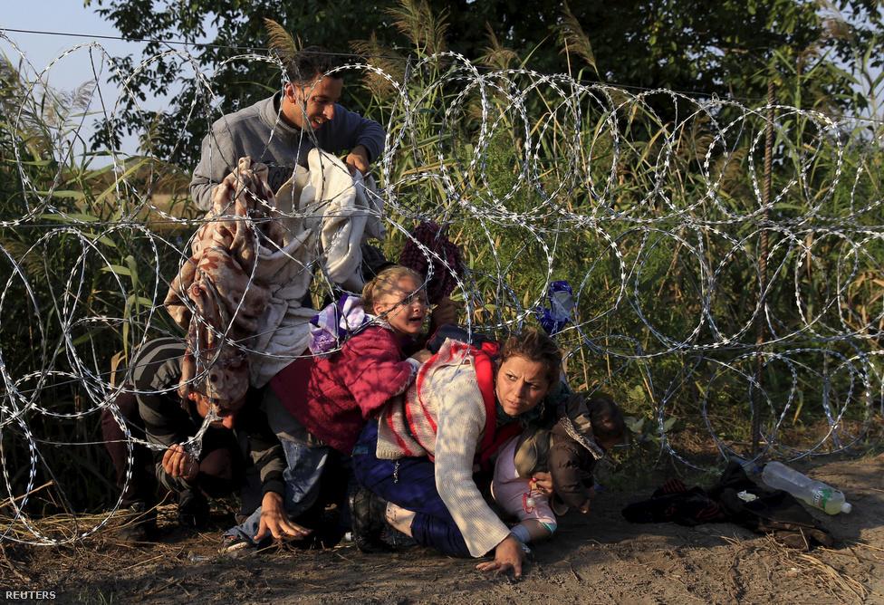 Egy csapat fotóssal sétáltunk a sínek mentén Röszkénél, merőlegesen a sínekkel, és figyeltük terepet, ahol már kitaposott ösvények vezettek át a kerítésen. Figyeltek minket a menekültek is a szerb oldalról, akik a közeli nádasban bujkálva csak arra vártak, hogy a rendőrök arrébb menjenek. Őket meg a rendőrök figyelték egy darabig, majd odébb álltak. Mindenki figyelt mindenkit, és a másikra várt, hogy lépjen.Az egész olyan volt, mint egy filmjelenet. A család néhány perccel később megindult a kerítés felé, miközben mindenki a rendőröket fürkészte riadt arccal. Sáros lábbal, csúszós cipővel, kapkodva próbáltak átjutni, látszott rajtuk, hogy pontosan tudják, hogy nincs sok idejük. Ettől a most vagy soha helyzettől vált az egész jelenet dermesztővé, ami kívülállóként szemlélve is szívszorító.