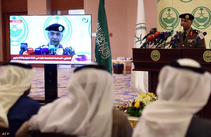 A szaudi belügyminisztérium szóvivője a Nimr al-Nimr kivégzése után tartott sajtótájékoztatón.