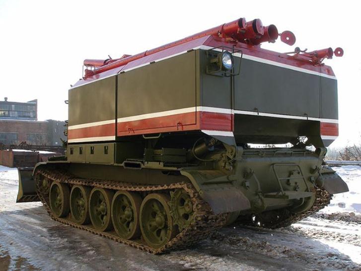 T-55-ös alvázra épített tartályos tűzoltó Oroszországban