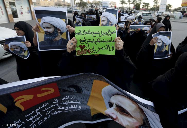 Tiltakozás Manamában a Szaúd-Arábiában terrorváddal kivégzett Nimr al-Nimr síita ajatollah miatt 2015. január 3-án.