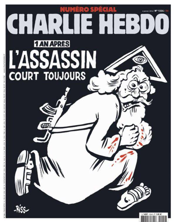A Cherlie Hebdo évfordulós címlapja.