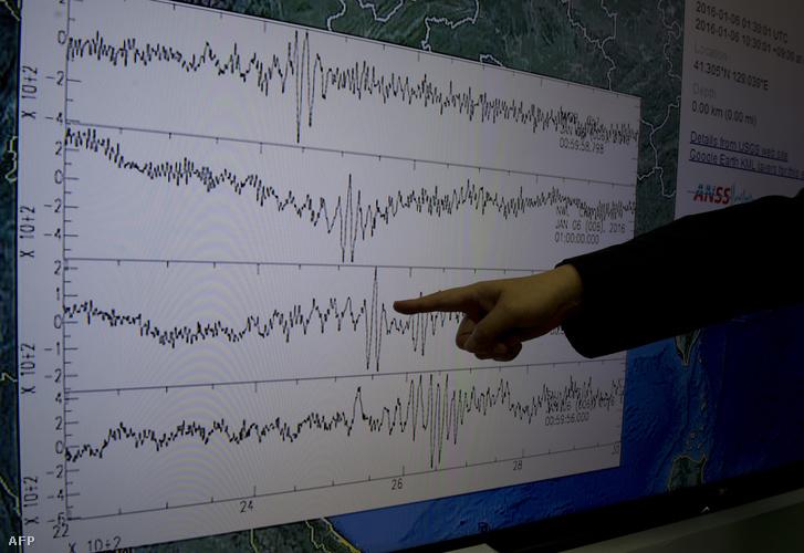 Tajvani szeizmológiusok mutatják a robbantás keltette hullámokat egy műszeren