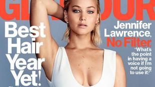 Jennifer Lawrence minden irányból megmutatta mellét a Glamourban