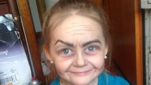 Így néz ki egy hároméves, ha 60 éves nővé sminkelik