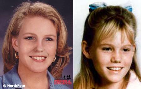 Jaycee Lee Dugard egy felnőttkori számítógépes fotón, és 11 évesen, elrablása idején