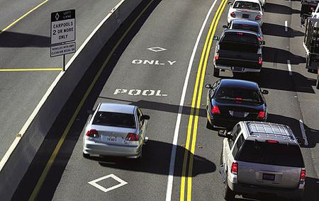 A carpool lane, azaz a telekocsisáv Amerikában