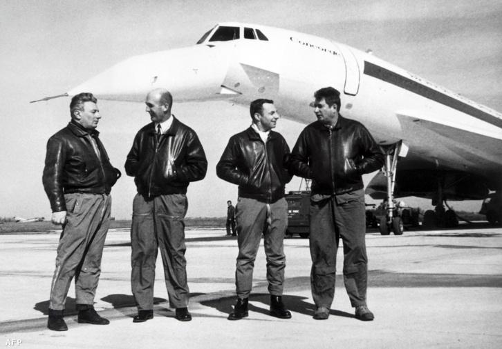 A Concorde 001 legénysége: Michael Retif repülőgép-szerelő, Andre Turcat tesztpilóta, Henri Perrier fedélzeti mérnők, Jacques Guignard tesztpilóta. 1969. február 28.