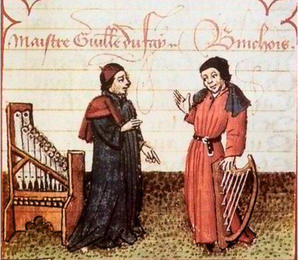 Dufay (balra) és Binchois egy korabeli ábrázoláson. Az az érzésem, hogy a reneszánsz zeneszerzők fejfedőiről egyszer még külön posztot fogok írni