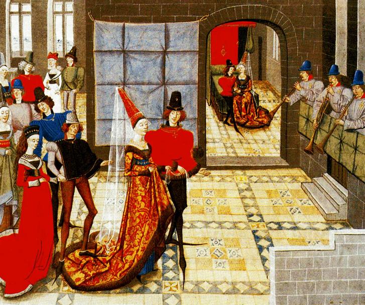 Tánc, zene és szex. Akár egy nagy házibuli is lehetne a képen, de valójában egy esküvőről van szó természetesen, ahol a burgundi divatőrület minden fontos eleme látszik. Csúcsos hennin, még csúcsosabb cipőorrok és olyan hosszú uszály, hogy a viselője mögött álló rátapos