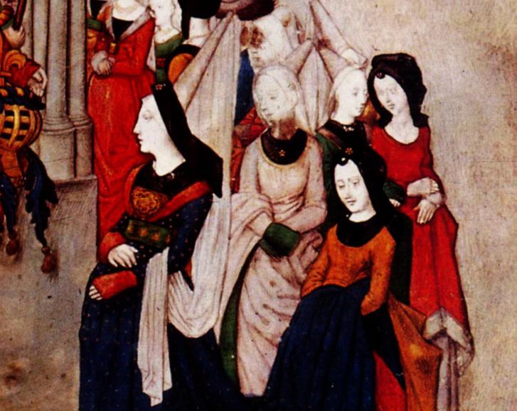 Burgundi ruha, amelynek viseléséhez három ember kell. A tulajdonos fogja a henninről lelógó fátyol egyik részét, a másikat és az uszályt további két kísérő hordozza. A teljes ruháért katt a képre!