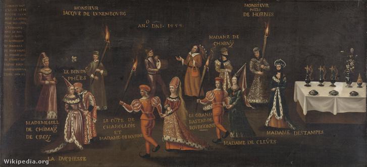 A Fácános bankett. A lakoma celebjeiről jó ötven évvel később készült festmény meglehetősen visszafogott.