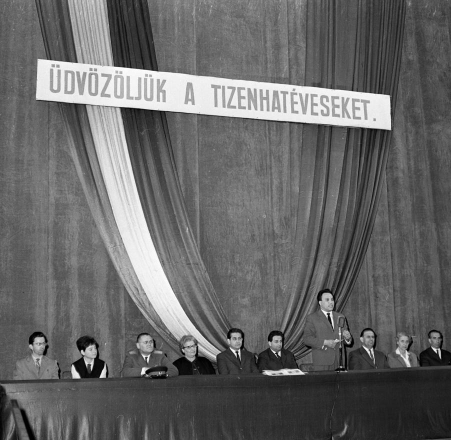 1947 és 1989 között több mint 18 ezer tekercs Leica és 6x6-os filmet exponáltak a Magyar Rendőr magazin fotósai, a közel félmillió képkockán húszezer riport látható. A szocialista Magyarországot egy különleges látószögből, a belügy nézőpontjából dokumentálták. Ezen a képen egy látványos, de igen unalmas, a célközönség ízlésének biztosan nem megfelelő szocialista ünnepséget örökítettek meg a rendőrfotósok.