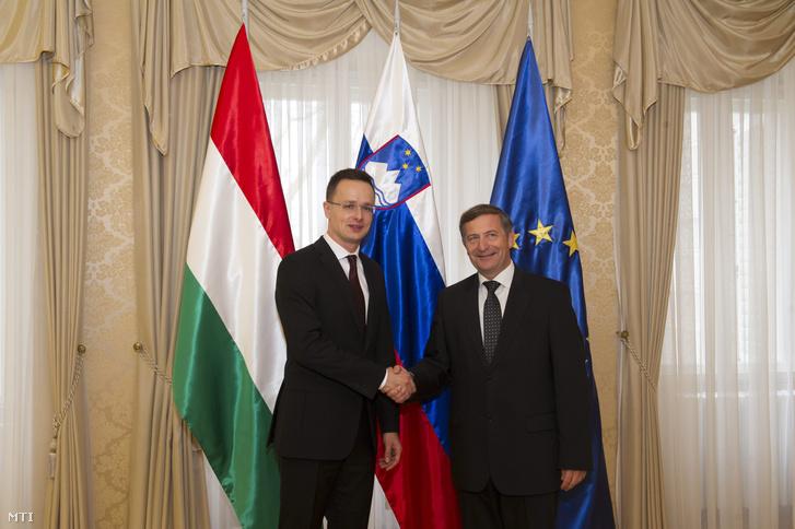 Szijjártó Péter külgazdasági és külügyminiszter és Karl Erjavec szlovén külügyminiszter