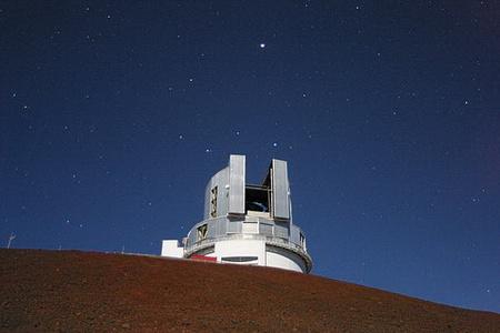 A Mauna Kea (Hawaii) csúcsán lévő Subaru és a fényesen ragyogó Jupiter kettőse (J-C. Cuillandre, CFHT)