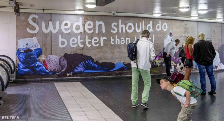 Ellenzéki plakát egy stockholmi aluljáróban
