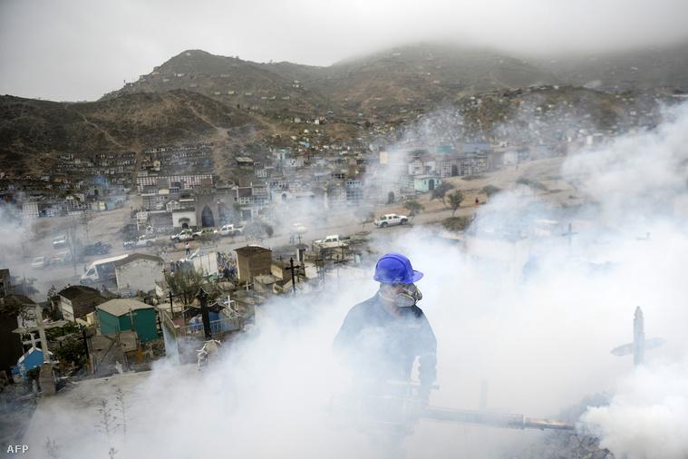 Szúnyogirtó dolgozik egy perui temetőben.
