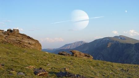 Fantáziakép egy Szaturnusz-szerű bolygó körül keringő, Földhöz hasonló holdról - valóban létezhetnek ilyenek? (Illusztráció: D. Durda)