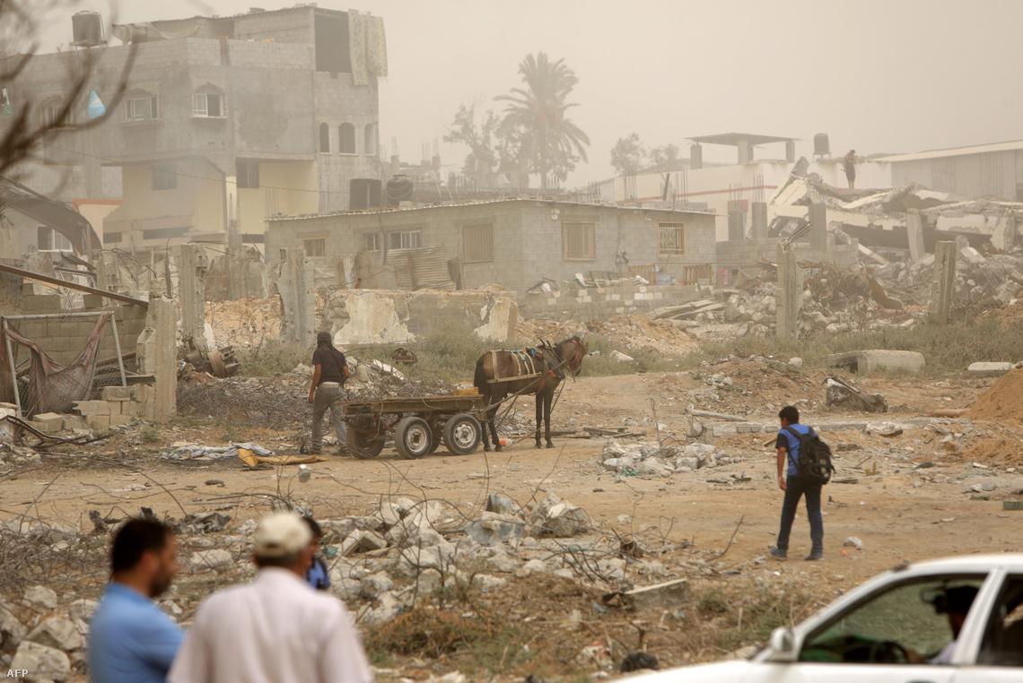 Lebombázott palesztin városrész 2015-ben