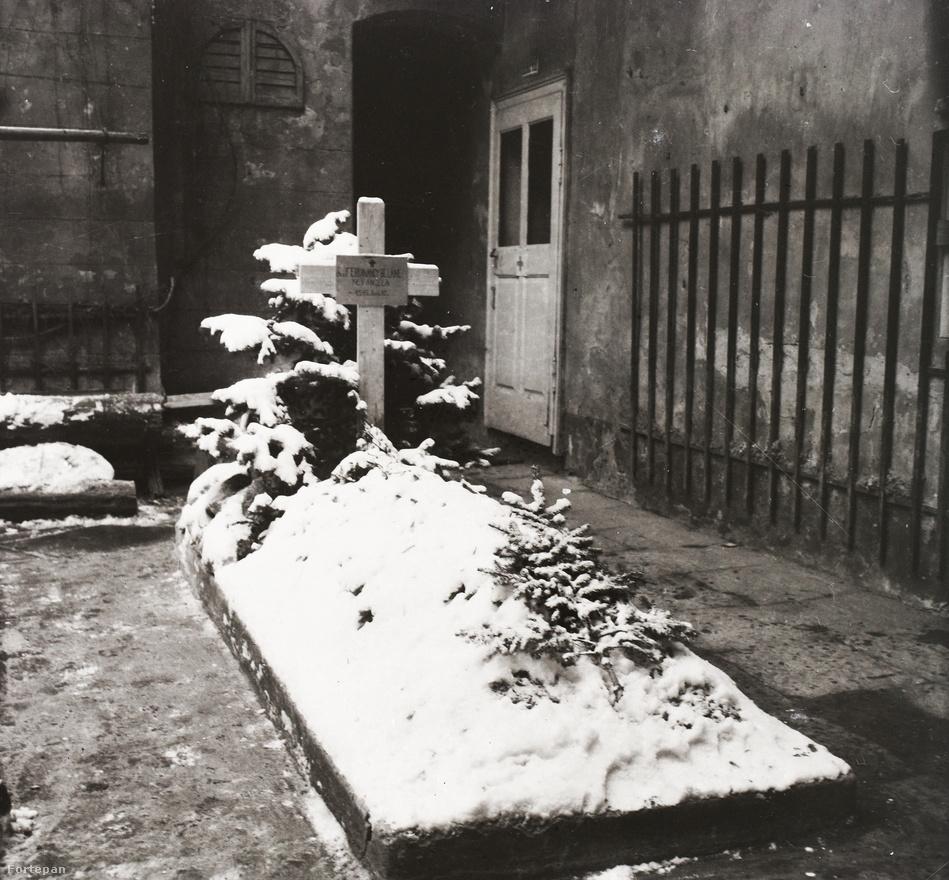 Ideiglenes sír a ház belső udvarán, virágágyásból kialakítva. Az itt eltemetett 68 éves asszony nem közvetlenül a harcokba halt bele, a szíve vitte el. Ha rájött a rosszullét, a pinceajtóhoz járt fel levegőzni, ott találták halva a számára odahelyezett széken. Az ostrom képeit a korábbiakhoz hasonlóan a fiatalabb családfő, készítette, néhány héttel később azonban már ő sem élt. Karácsony után már csak a Mátyás-templomnál lévő ciszternából tudtak a Várban élők vizet szerezni, február elsején idementek hárman a gyermekotthon számára vízért, amikor találat érte őket. Ketten azonnal elpusztultak, Dr. Buzinkay György még kilenc napig élt a Sziklakórházban, néhány nappal a budai háború vége előtt halt meg.