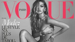 Gigi Hadid pucéran és kevés ruhában is szerepel a Vogue-címlapján