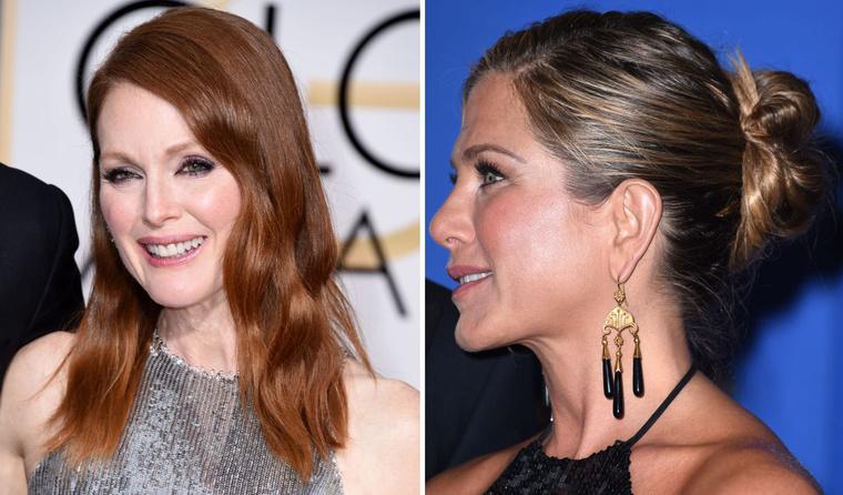 Julianne Moore és Jennifer Aniston 2015-ös, Golden Globe-os frizurái. Ha egyetlenegyszer ment ki hozzájuk a fodrász, egyenként akkor is több mint félmillióba kerültek.