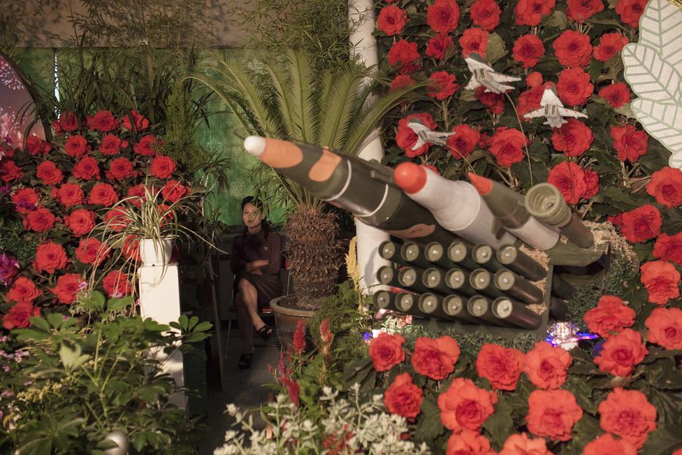Hosszútávú projekt 3. hely (sorozat) Észak-koreai fesztiválkellékek és egy katonanő a koreai háború hatvanadik évfordulójára rendezett ünnepségen.