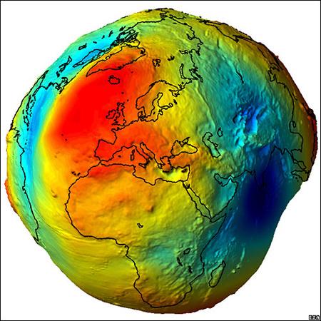 A GOCE adatinak felhasználásával a kutatók megalkotják az ideális geoidot. Ez egy olyan Föld-formát jelent, ahol a felszín mindig merőleges az azt érő gravitációs erőre, vagyis mindenhol tökéletesen horizontális. Ha lehelyeznénk egy labdát bárhol ezen az elméleti felszínen, nem gurulna el, a látszólagos egyenetlenségek ellenére sem. (A képen látható geoid természetesen erősen túlzó, a szemléltetés végett.)