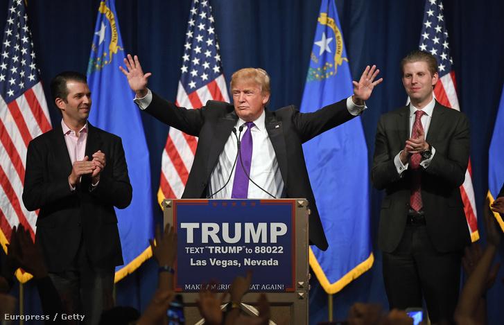 Donald Trump fiaval, Erikkel és Donalddal a nevadai Las Vegasban, 2016. február 23-án.