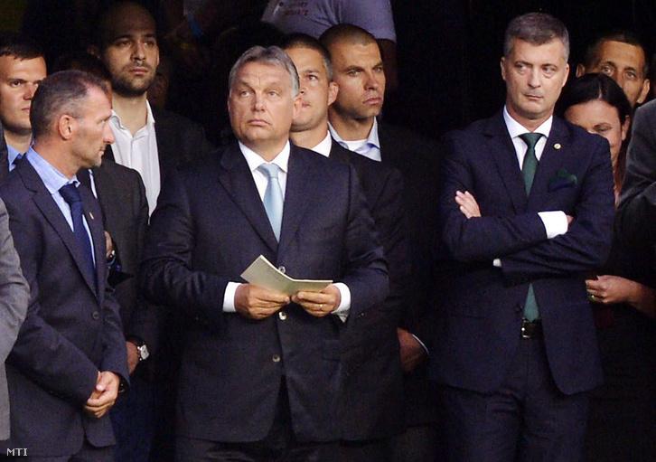 Orbán Viktor és Kubatov Gábor a Groupama Aréna megnyitóján.