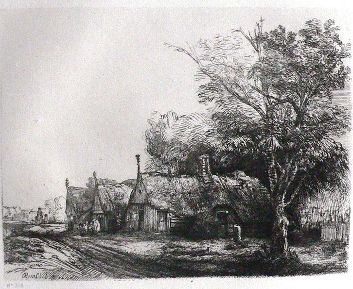 Landschaft mit drei Giebelhütten an einer Straße