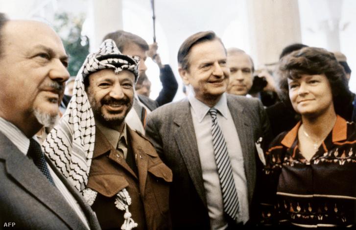 Jasszer Arafat és Olof Palme Stockholmban, 1983. április 13-án.