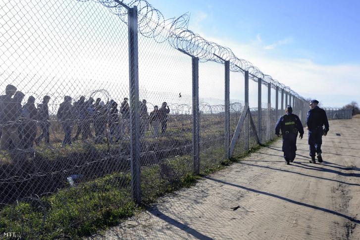 Magyar rendõrök figyelik a vajdasági oldalon tartózkodó migránsokat a magyar-szerb határon felállított ideiglenes határzárnál Mórahalom térségében.