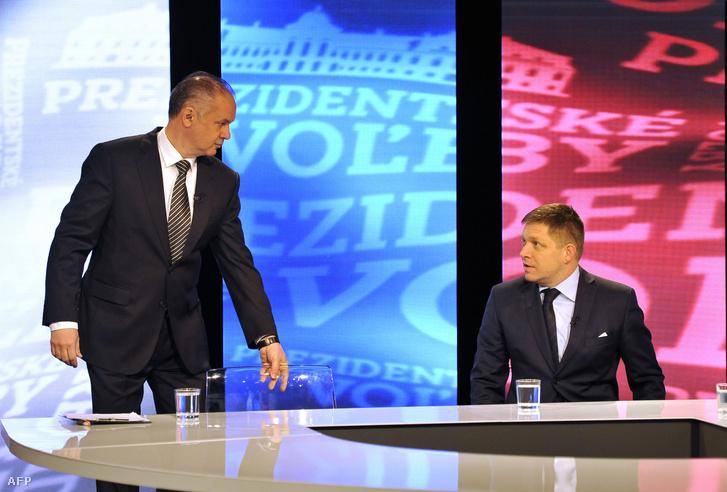 Andrej Kiska vállalkozó és Robert Fico egy televíziós vitán az elnökválasztás első fordulóját követően, 2014. március 16-án, Pozsonyban.